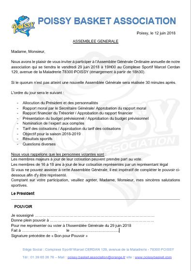 Assemblee Generale Du Poissy Basket Association Poissy Basket